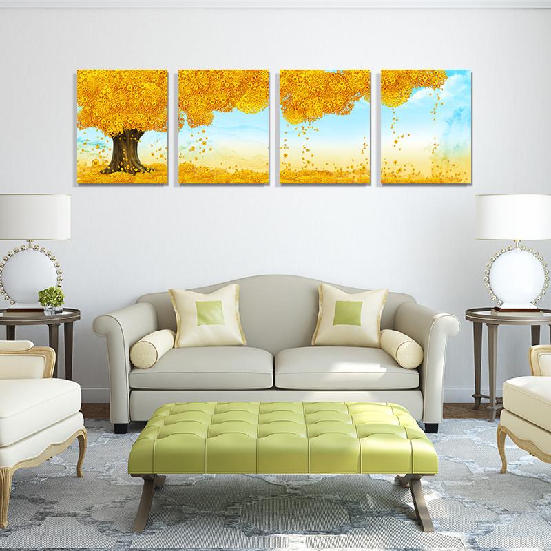 必升辉【摇钱树】一套四副平面无框一套价格风景喷绘装饰画