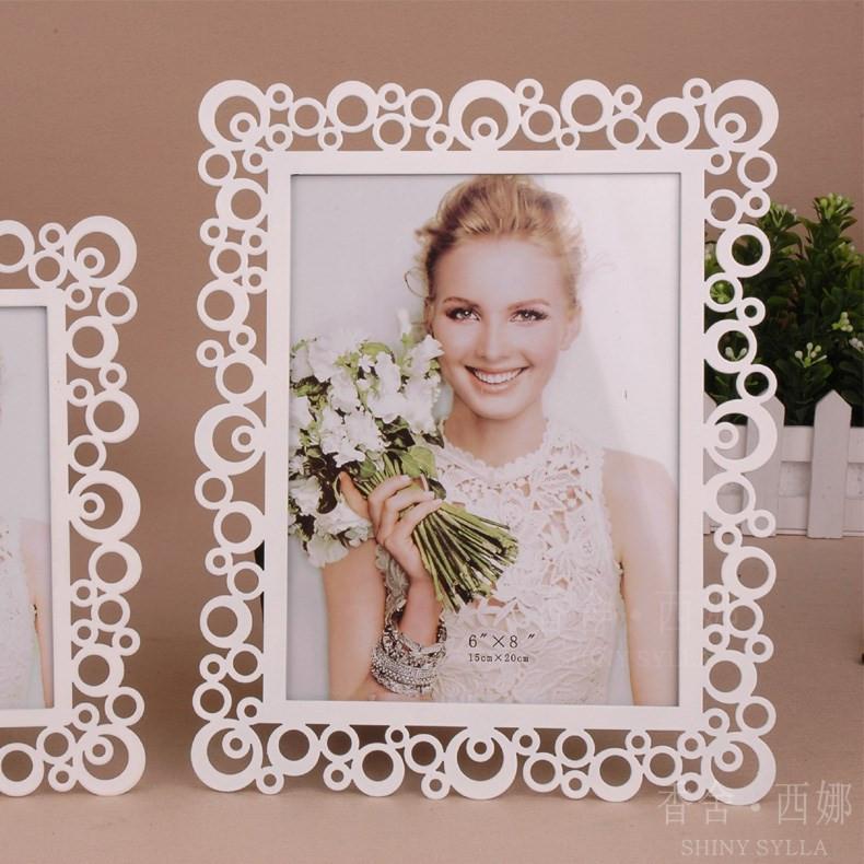 香舍西娜白色金属相框长方形韩式相框