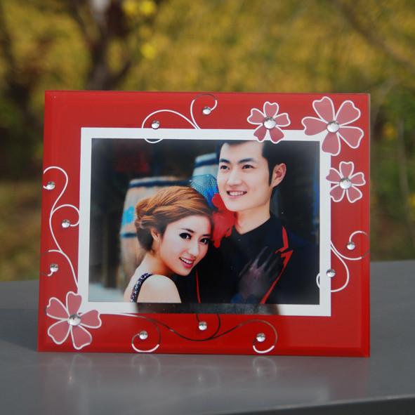 美彩乐白色大红色黑色玻璃相框长方形简约现代相框