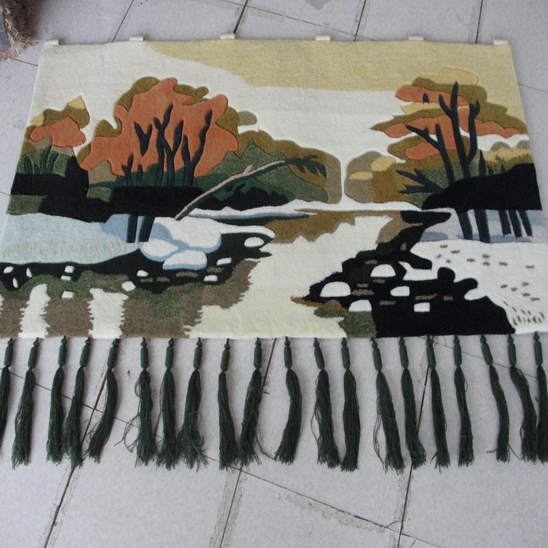 琪斯美 化纤手工gt-5挂毯长方形风景美式乡村 挂毯