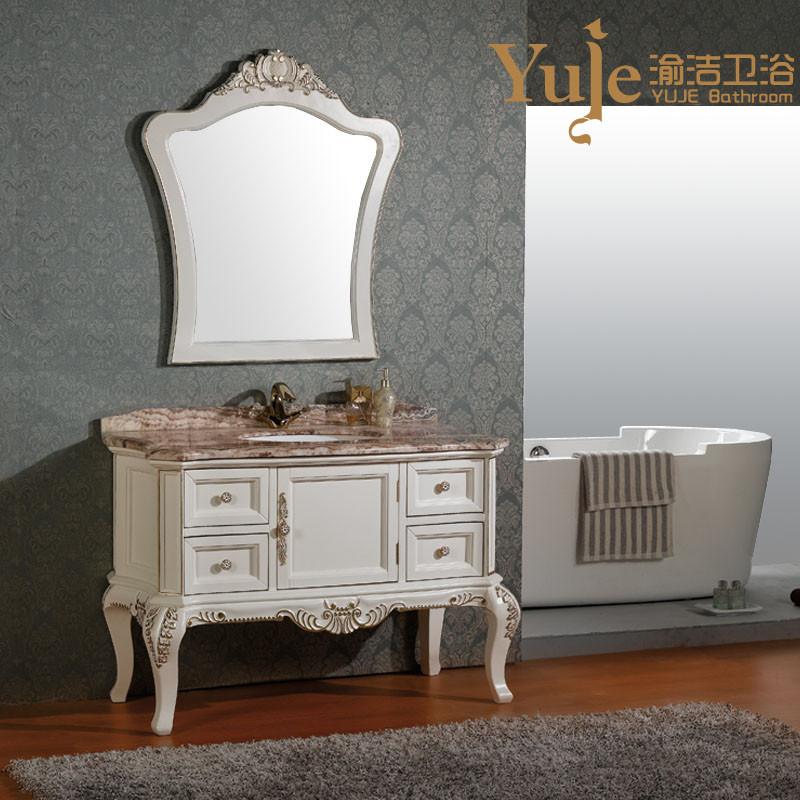 渝洁 橡胶木含带配套面盆大理石台面e0级欧式 yjd1591浴室柜