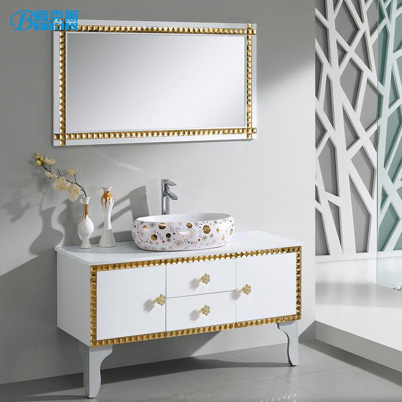 宾克斯 橡木含带配套面盆大理石台面e0级欧式 浴室柜