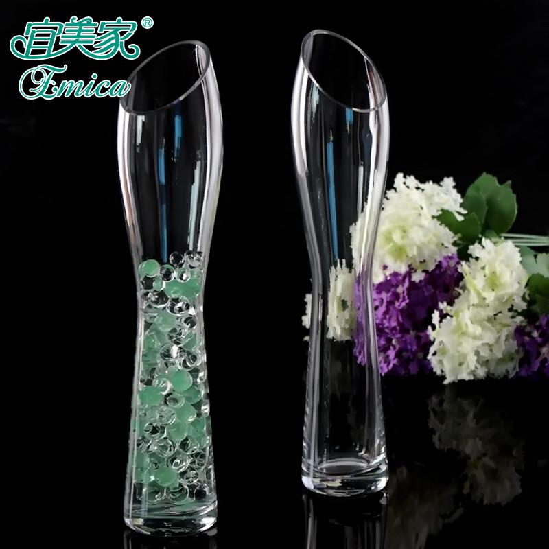 宜美家玻璃台面花瓶简约现代花器