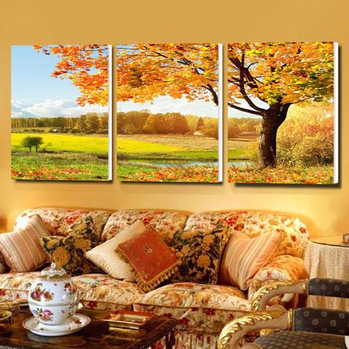 柠檬树三联平面无框拼套喷绘装饰画