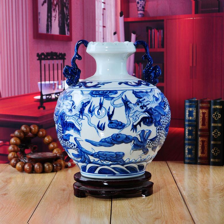 景德大展陶瓷梅瓶扁肚瓶赏瓶石榴瓶陶瓷台面花瓶大号现代中式花瓶