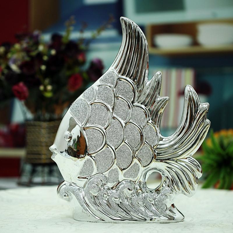 水百合金色鱼一只银色鱼一只电铸镀金动物桌面摆件招财欧式摆件
