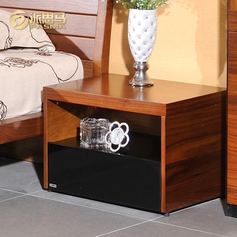 派思马 胡桃木色箱框结构核桃木多功能艺术成人简约现代 床头柜