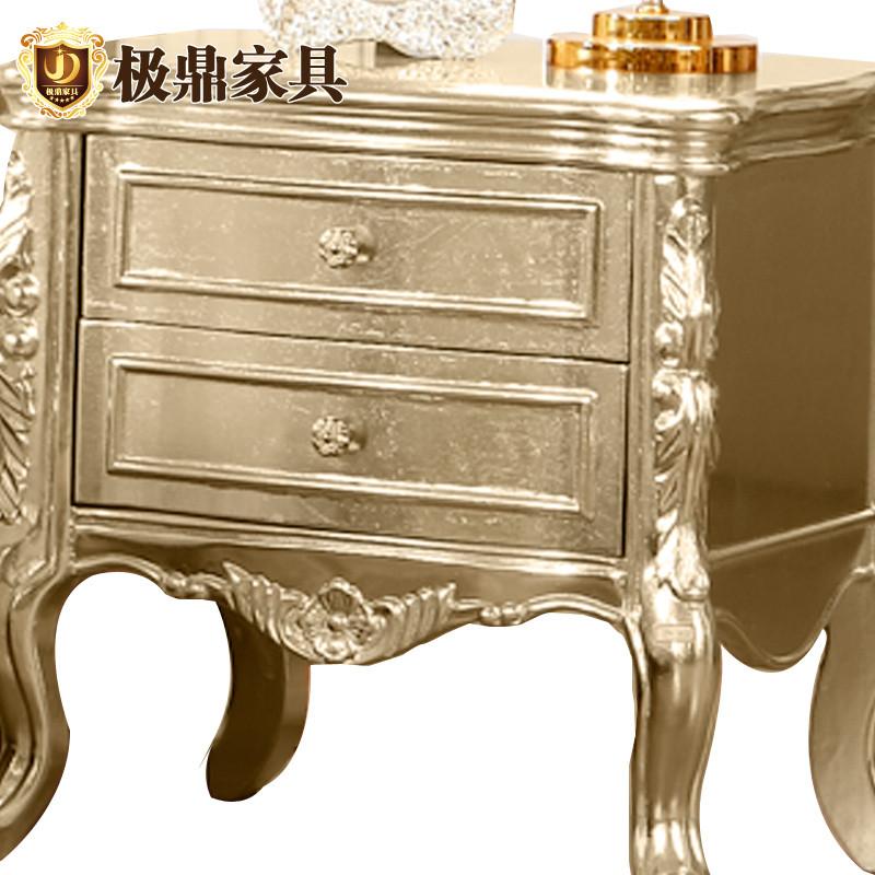 jd 极鼎家具 香槟金框架结构橡木气动抽象图案成人欧式 床头柜