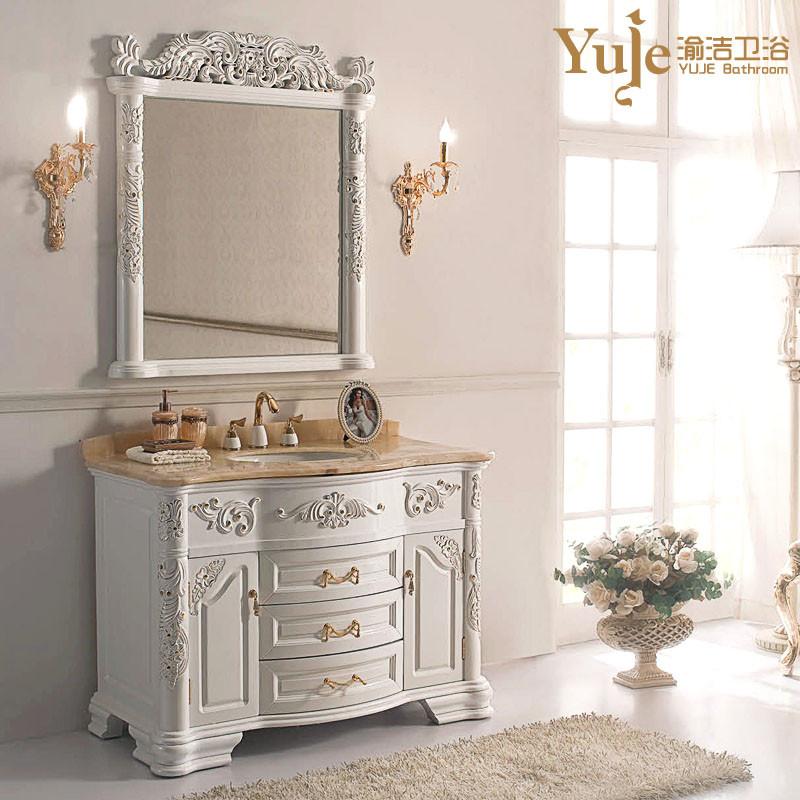渝洁 橡胶木含带配套面盆大理石台面e0级欧式 yj535浴室柜