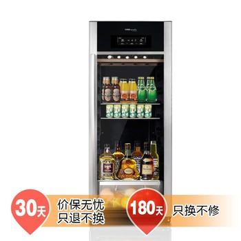 美的 黑色亚光可调节R600a实木层架直冷侧开门3 ~18℃175L电脑控温 酒柜
