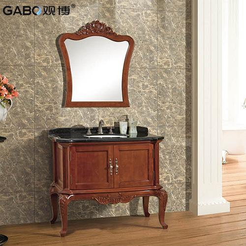 观博 橡胶木大理石台面e0级欧式 gbp8209浴室柜