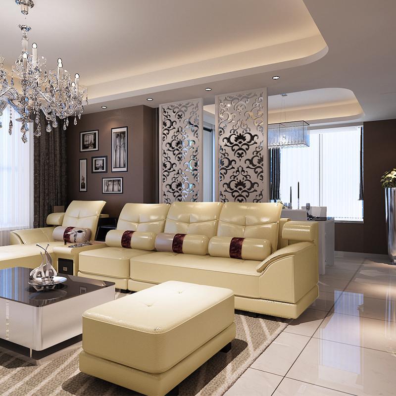 柏斯町 真皮L形木质工艺储藏海绵艺术简约现代 沙发