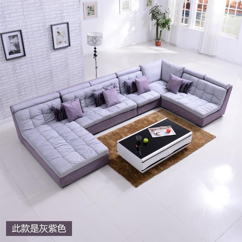 wellspread U形木质工艺拼板柳桉木移动绒质海绵简约现代 沙发