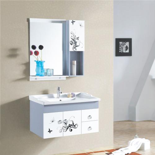 匡弘 PVC板一体陶瓷盆E0级现代中式 浴室柜