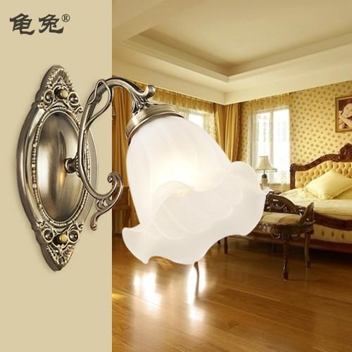 龟兔 红古铜青古铜玻璃铁欧式镀铬白炽灯节能灯LED 壁灯