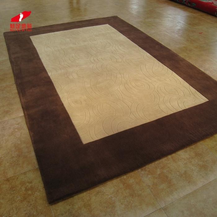 魅足地毯 进口水洗羊毛地毯简约现代几何图案长方形中国风手工织造 地毯