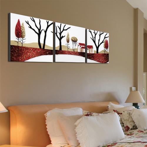 馨雅格图案颜色立体无框三拼一套手绘-装饰画