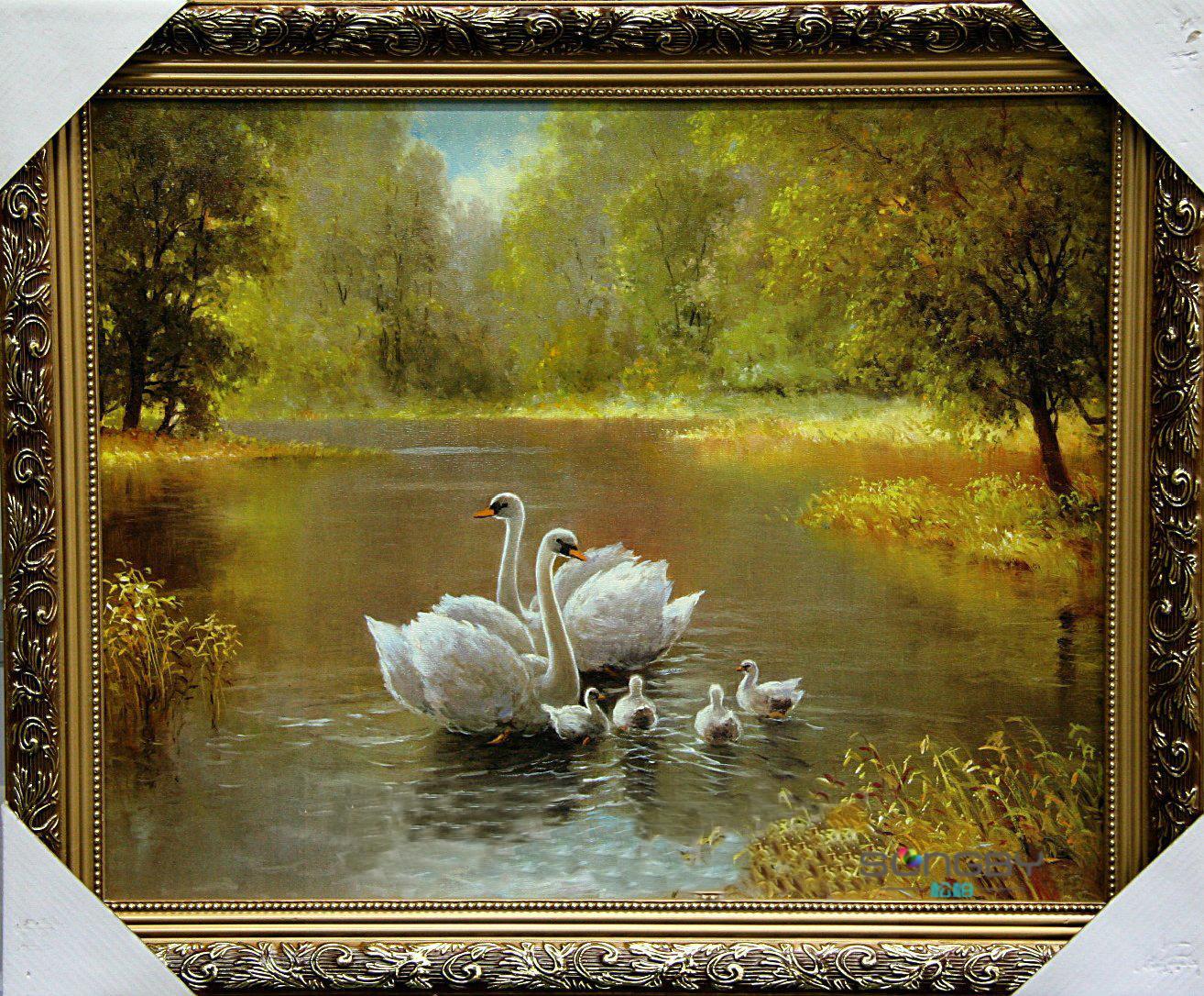 松柏高档实木外框立体有框单幅风景手绘油画