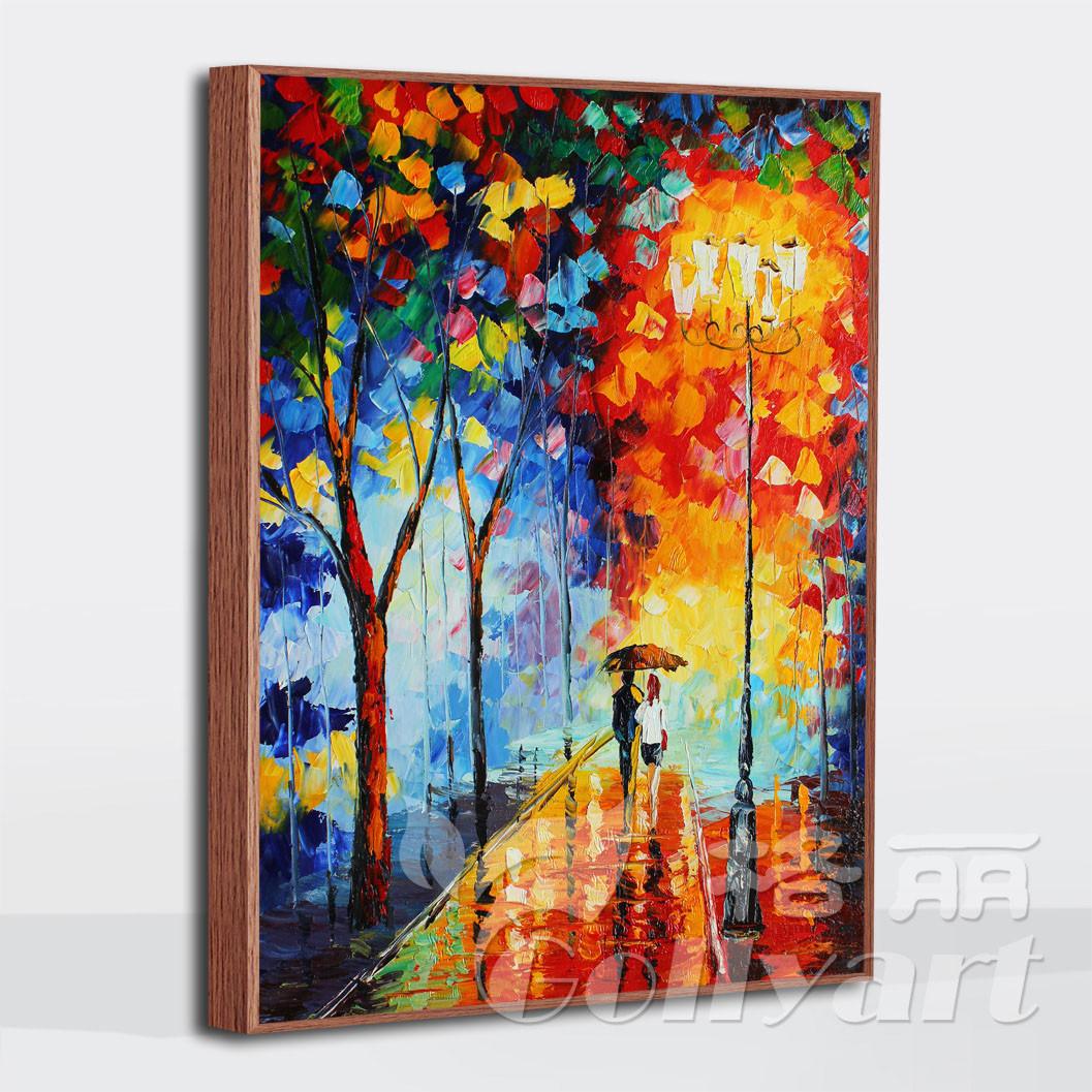 款款款款立体厚颜料画布油画单幅有框画精装裱风景手绘油画