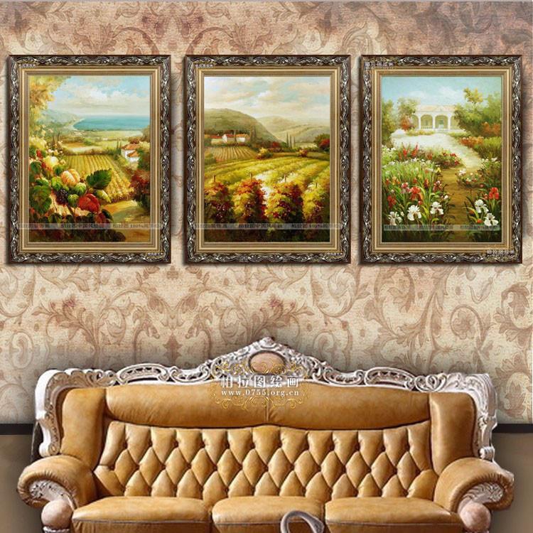 柏拉图无框有框风景手绘油画