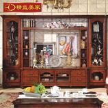 精益美家欧式电视柜组合 客厅实木电视地柜 新古典电视柜 美式乡村电视柜