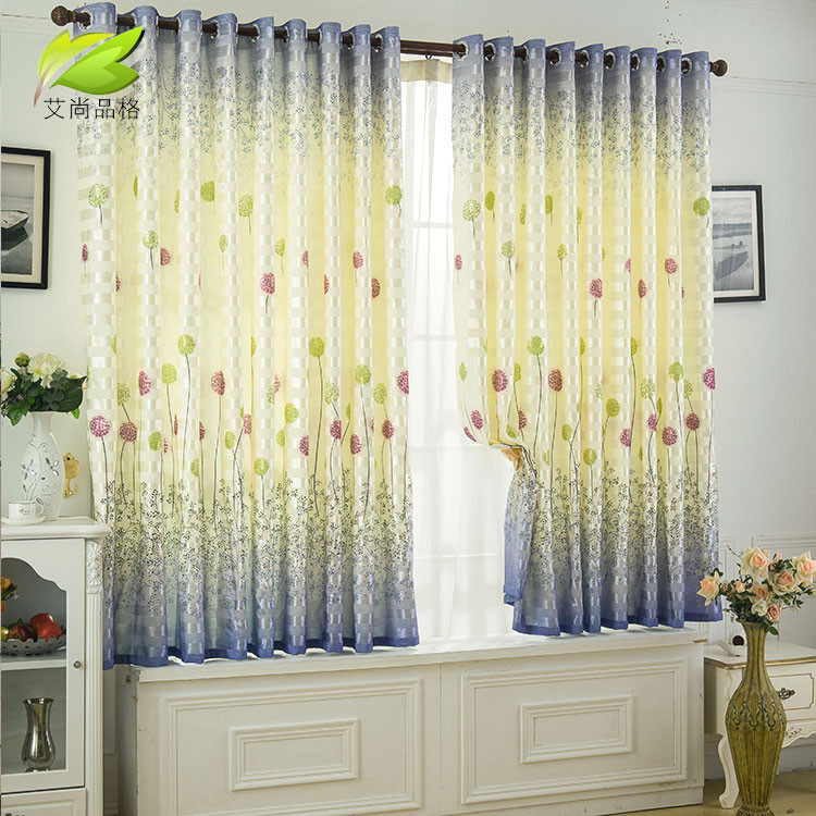 艾尚品格 布装饰+半遮光平帷涤棉涤纶植物花卉草叶子心形简约现代 窗帘