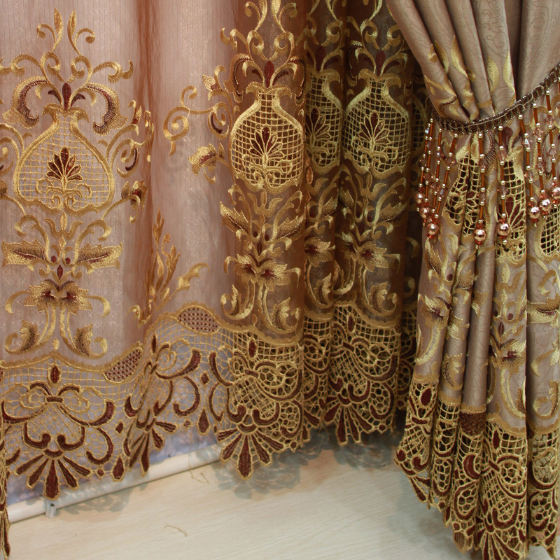 佳之语布帘纱帘装饰半遮光麻纱植绒混纺欧式窗帘