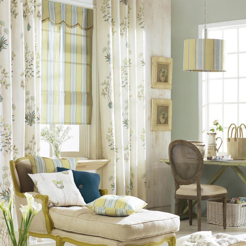 式挂钩式布装饰 半遮光植物花卉草风景飘窗八角窗凸窗落地窗田园 窗帘