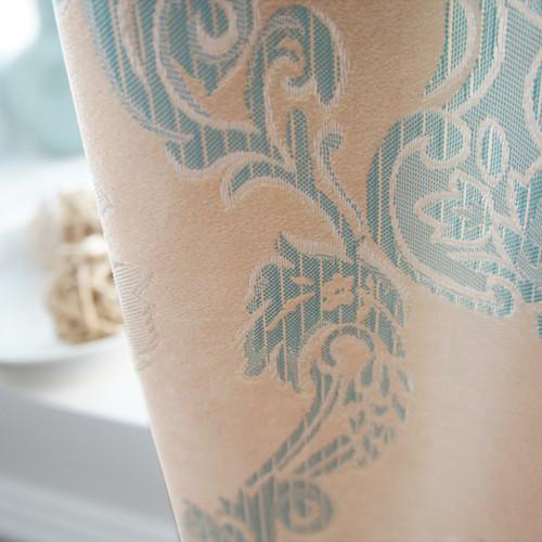 gafuhome 布装饰+半遮光平帷涤棉植绒植物花卉叶子欧式 窗帘
