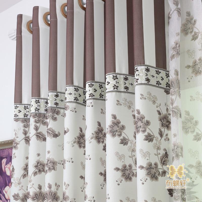 布蝶轩 布帘 纱帘装饰 半遮光无青花瓷植物花卉条纹明清古典 窗帘