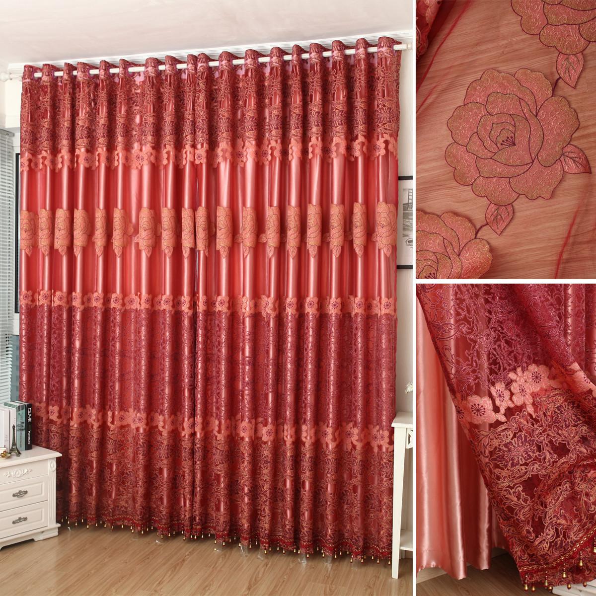 布帘 纱帘装饰 半遮光平帷涤纶混纺植物花卉叶子喜庆欧式 1848红纱