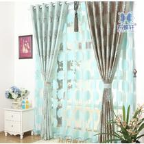 布帘+纱帘装饰+全遮光涤纶叶子纯色普通打褶打孔帘穿杆帘欧式 窗帘
