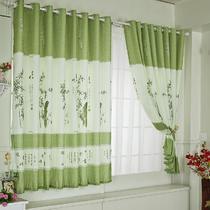 布装饰+半遮光涤纶普通打褶落地窗 窗帘