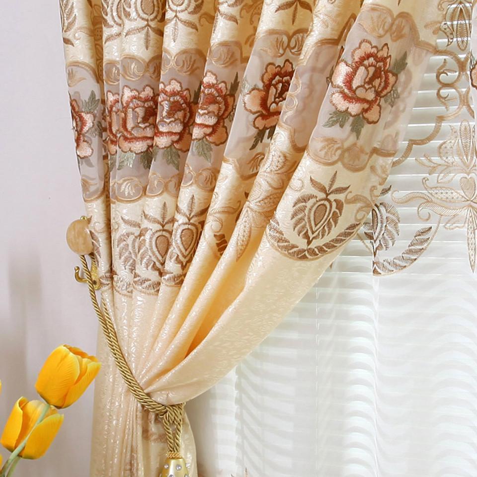 锦如春布帘纱帘装饰半遮光纱涤棉混纺人造纤维植物花卉草叶子普通打褶打孔帘欧式窗帘