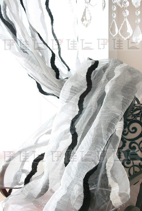 伊佳仁透光平帷荡度涤纶混纺如图窗纱按您的窗随意定做现代中式窗帘