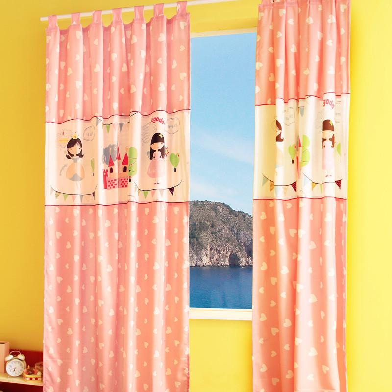 咕咚咕咚布装饰半遮光涤棉格子圆圈卡通动漫穿杆帘落地窗平面窗韩式窗帘