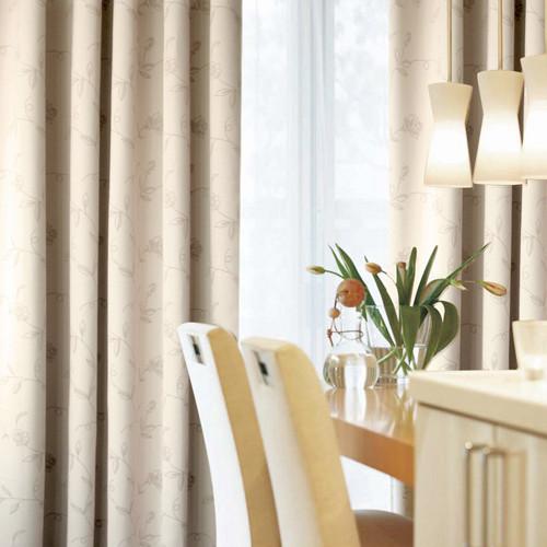 -布遮光平帷涤纶植物花卉草叶子普通打褶打孔帘飘窗落地窗现代中式窗帘