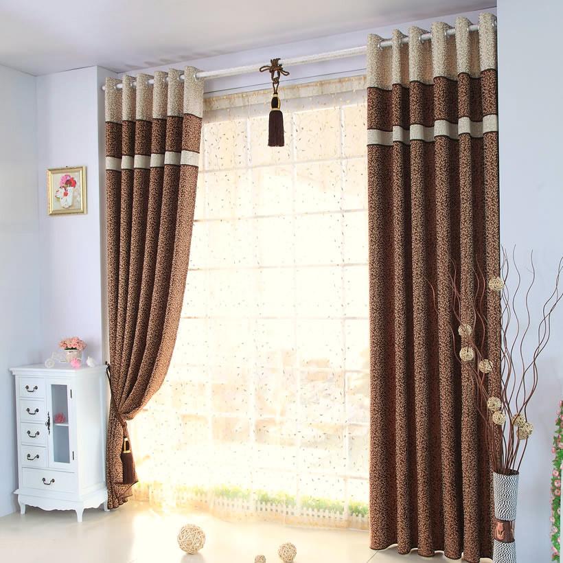 为爱筑巢布装饰半遮光涤纶叶子普通打褶打孔帘窗幔帘现代中式窗帘