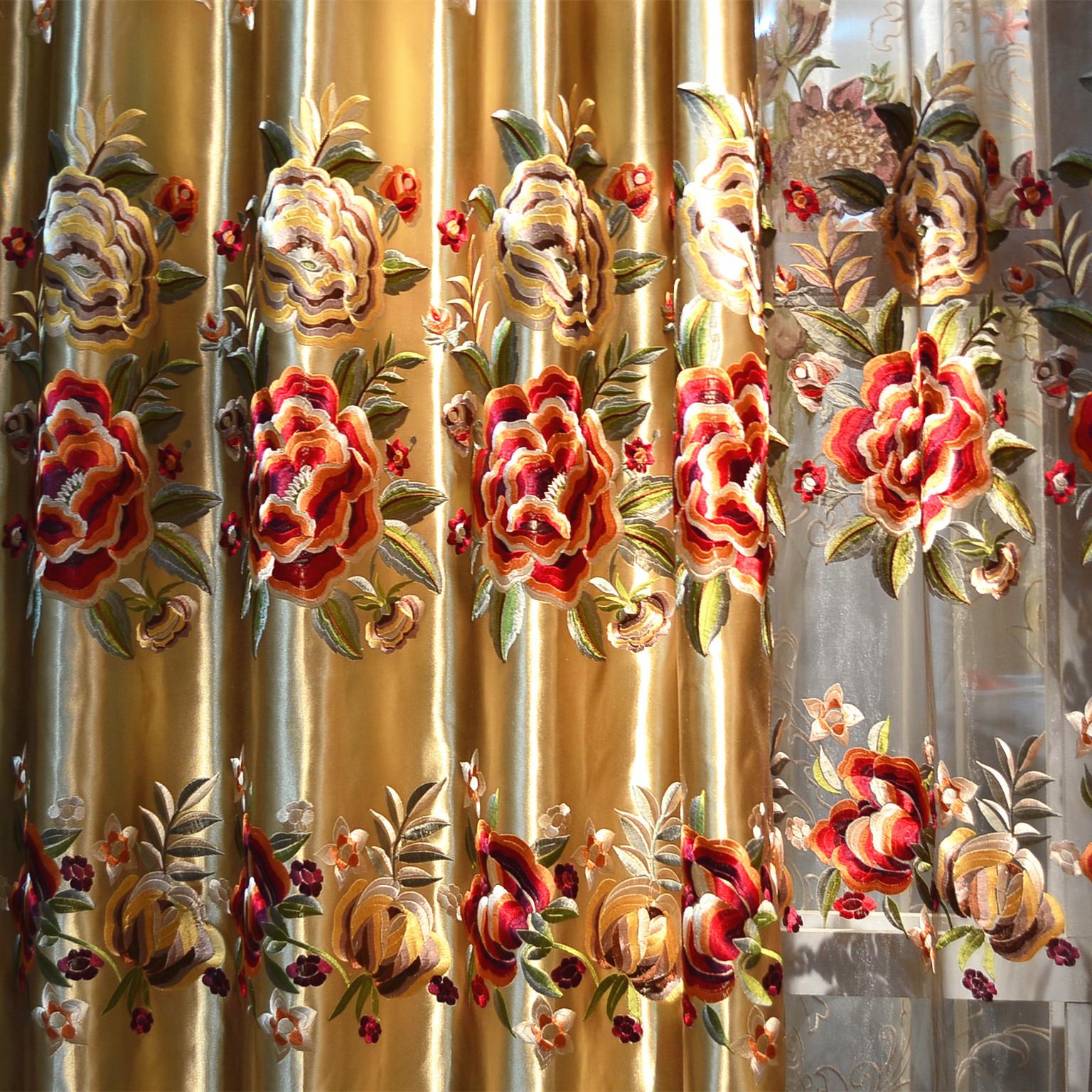 爱瑞绮布帘纱帘装饰半遮光平帷荡度混纺植物花卉几何图案喜庆普通打褶打孔帘欧式窗帘