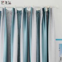 布遮光聚酯纤维条纹普通打褶简约现代 窗帘