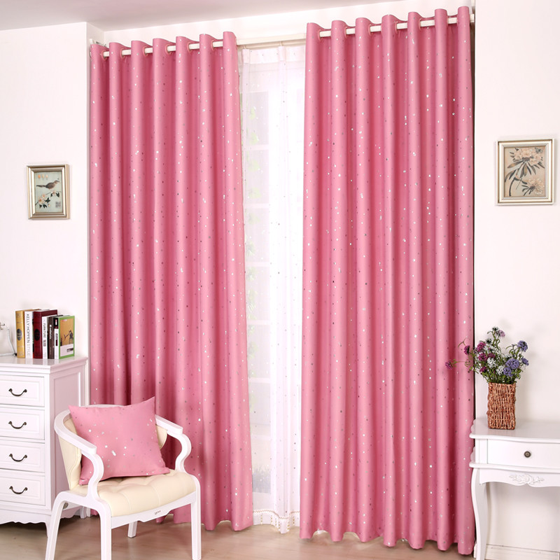 紫蝶 布装饰+全遮光涤纶星星普通打褶打孔帘韩式 窗帘