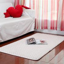米白色米黄色混纺简约现代纯色长方形田园机器织造 地毯