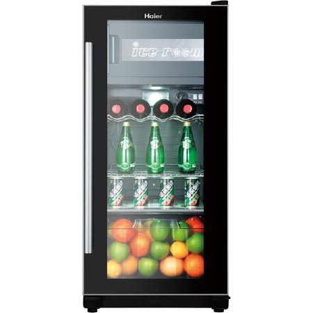 海尔 黑色冷藏120L定频N单门18L102LR600a直冷侧开门立式冰吧电脑控温 酒柜