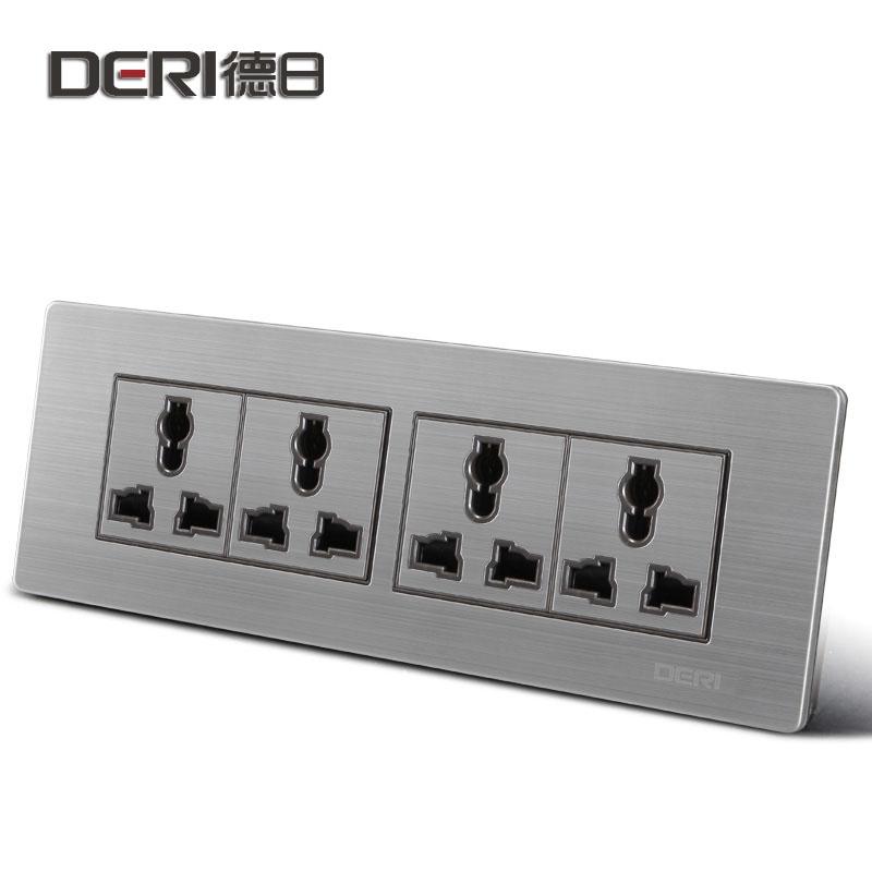 德日 银色118型三三三插10A 118带开关插座4插座