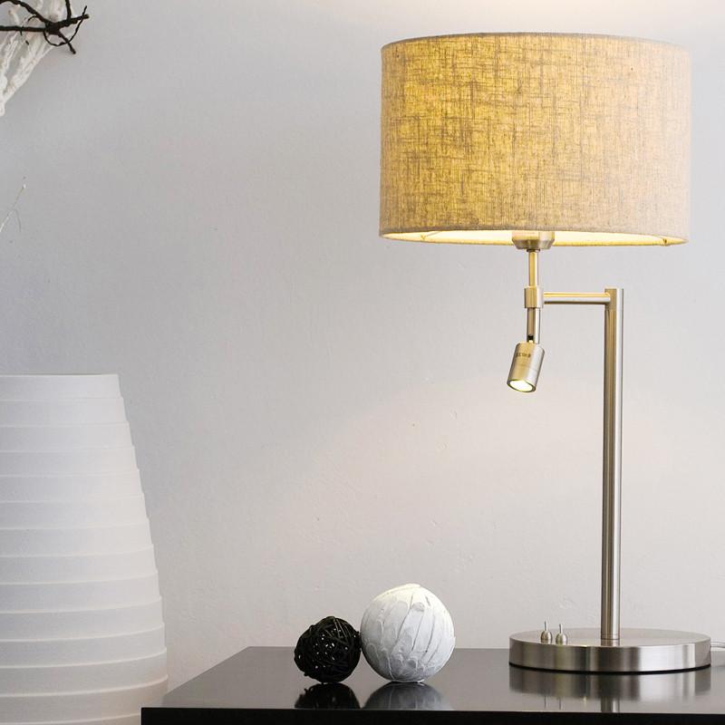 旭呈 白色亚麻色布铁简约现代白炽灯LED节能灯 台灯
