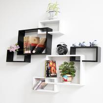 人造板特殊造型密度板/纤维板木质工艺拼板抽象图案成人田园 宜尚家居壁挂烤漆隔板架宜家墙壁架创意格子壁柜墙柜壁柜