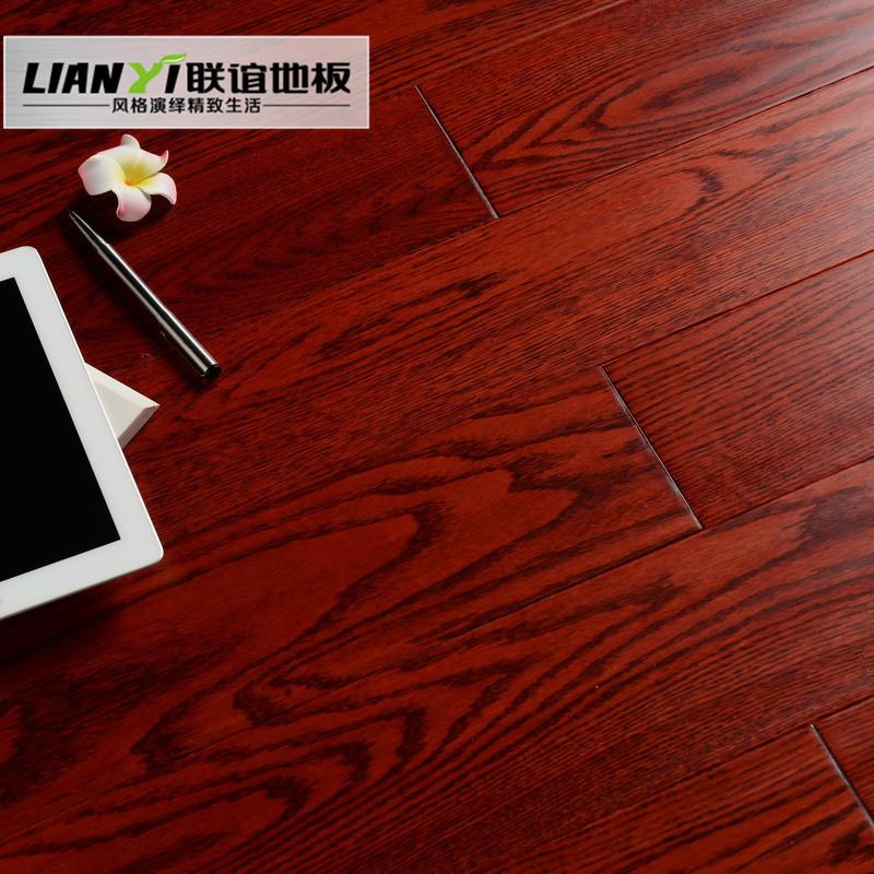 联谊 酒红色橡木a类实木复合地板 地板