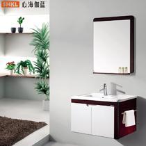橡胶木一体陶瓷盆E0级简约现代 WX009-1浴室柜