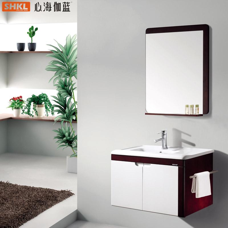 心海.伽蓝 橡胶木一体陶瓷盆E0级简约现代 WX009-1浴室柜