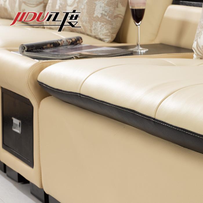 JIDU 几度 接触面真皮L形木质工艺桦木储藏化纤简约现代 2218C沙发